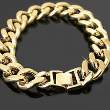"15mm JUMBO CURB Link 8.5"" 24kt GOLD GL MENS Bracelet 