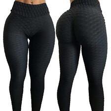 Moda Cintura Alta Fitness Leggings Pantalones Mujeres Entrenamiento Push Up sólido Pantalones
