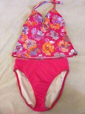Victoria's Secret Swimsuit Tankini Set Coral Floral Halter M Top L Bottom
