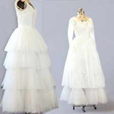 Vintage 40s floral lace white tiered tulle princess 2pc wedding dress XS