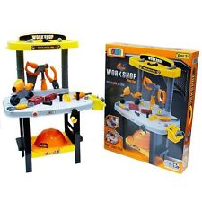 NEW WORKSHOP KID BOY CHILD GARAGE WORK BENCH TOOL SET TOOLBOX PRETEND PLAY TOY