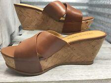 Franco Sarto Women's Cork Sandal Leather Cross Strap Comfort Foot Bed Sz 7