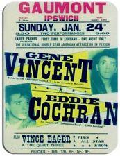 Gene Vincent and Eddie Cochran Concert Poster Mouse Mat. Vintage Gig Mouse Pad
