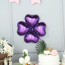 "10 Purple 15"" wide Clover Mylar Foil Balloons Wedding Birthday Decorations"