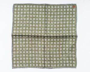 "Isaia Green White Blue Floral Print Paisley Pocket Square Silk 13"" 33 cm"