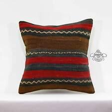 "Vintage Turkish Kilim Rug Pillow Striped Cushion Cover Sofa Floor Throw 16x16"""