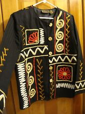 ALEX KIM sz M Black Red Gold Artsy Embroidered Jacket Wearable Art Made in India