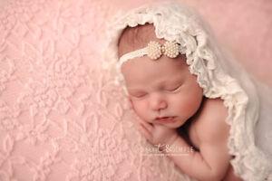 Baby Infant Newborn Girls Pearl Bow Lace Headband Photo Prop  Wedding Baptism
