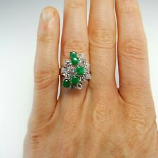 Green Jadeite Jade Cabochon Diamond Ring Modernist 14K Gold 1970s Geometric Fine