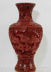 Vintage Chinese Cinnabar Lacquer Deep Carved Scholars Scenic Vase/Lamp on Bronze