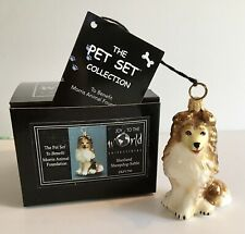 Shetland Sheepdog Sable Dog Joy To The World Glass Christmas Ornament Nib