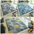 VELOCITY HAND CARVED GEOMETRIC QUALITY SOFT TOUCH RUG IN BLUE, PINK AND OCHRE