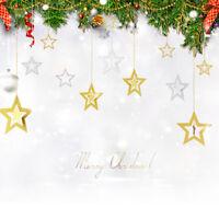 QA_ 7PCS XMAS TREE HOLLOW STAR HANGING CEILING HOME ORNAMENT WEDDING PARTY DEC
