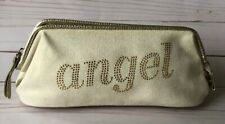 "VICTORIA'S SECRET""ANGELS"" Ivory Canvas Gold Glitter Logo  Cosmetic Travel Pouch"