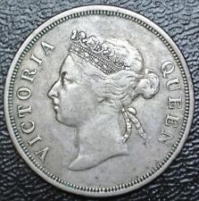 1889 STRAITS SETTLEMENTS - 50 (FIFTY) CENTS .800 SILVER -Queen Victoria-KEY DATE
