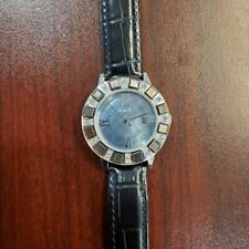 Honora 36mm Crystal Accented Bezel Black Leather Strap Womens Watch