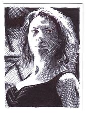 ACEO bosquejo de la tarjeta de la actriz Scarlett Johansson como película Los Vengadores de viuda negra
