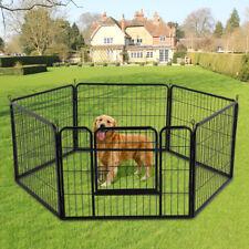 Parc Enclos Cage Chien Chiot Lapin en Métal 6 Panneaux Intérieur/Extérieur