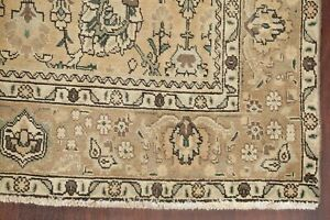 Vintage All-Over Floral MUTED Golden Brown Tebriz Area Rug Hand-Knotted Wool 6x9