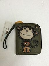 Chala Monkey Zip Around Wallet Faux Leather Olive Green Wristlet New