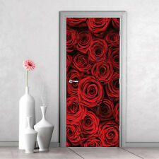 Red Roses Door Mural Wall Sticker Art Decal