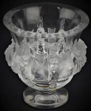 "Lalique French Crystal Dampierre Birds Vase Signed on Underside 5"" Clear"