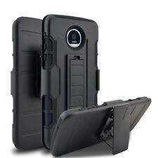 For Motorola Moto Z Force Droid Holster Case Kickstand Hybrid Phone Cover Black