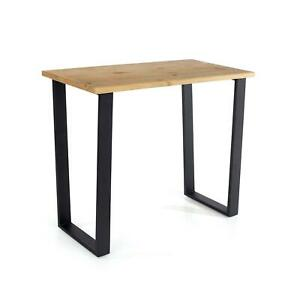 Modern Antique Wax Finish Pine Console Table Hallway Side Table Black Metal Legs