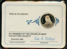 FRANKLIN MINT 1989  COLLECTOR SOCIETY MEMBERSHIP STERLING SILVER MEDAL CARD