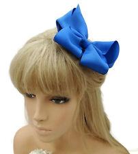 Hermoso Arco Grande el pelo pinza de agarre Luz Azul Real Tejido de punto acanalado cinta Rockabilly