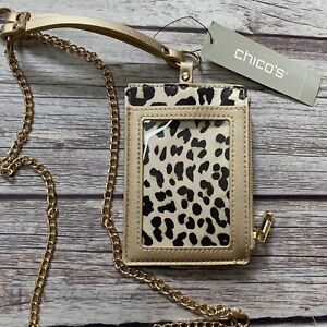Chico's Lanyard ID Zipper Coin Purse Gold Chain Animal Leopard Print NWT