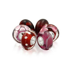 Bling Jewelry Garnet Color Murano Glass Bead Bundle Sets Sterling Silver