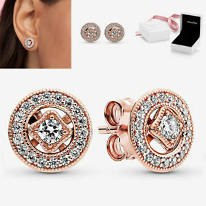 Genuine Pandora Sparkling Vintage Rose Gold Circle Stud Earrings With Gift Box