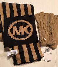 "NWT MICHAEL KORS Black & Camel Stripe ""MK"" KNIT SCARF & Gloves $100"