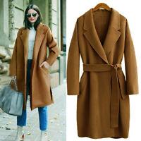 Fashion Women Oversize Lapel Cashmere Wool Blend Belt Trench Coat Outwear Jacket