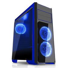 CiT Flash Midi Tower PC Noir Bleu eSPORTS Gaming verre trempé Case USB 3.0