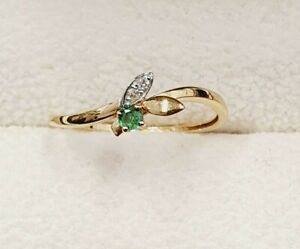 18ct Gold Emerald & Diamond Slim Ring Size O 1/2 STOCK CLEARANCE