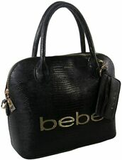 BEBE Logo Purse Satchel Hand Bag Crossbody Black Lizard Dome & Card Case Set NWT