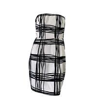 Express Womens Black White Abstract Print Strapless Pencil Tube Mini Dress Sz 8