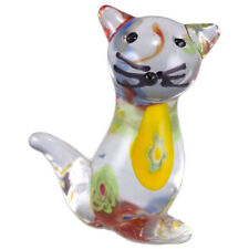 Miniature Hand Blown Art Glass Cat Figurine Multi-colored New!