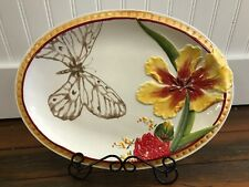 """Fitz & Floyd Flower Market yellow red 14"""" oval embossed Platter butterfly NEW"""
