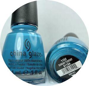 China Glaze Nail Polish Sunday Funday 1152 Bright Blue Creme Lacquer w Hardeners