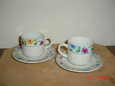 "10-PC MAJESTICWARE ""ROSE GARDEN"" CUPS & SAUCERS/1994/BRIGHT COLORS/FREE SHIP!"
