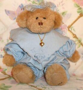 "GANZ COTTAGE COLLECTIBLES CAROL KIRBY 9"" PLUSH GIRL TEDDY BEAR IN BLUE MELINDA"