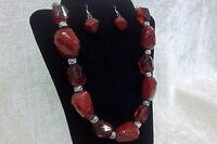 Fashion Jewelry Set Red and Silver Necklace & Earrings NWOT Beads NEW Chunky