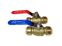 "2 PIECES 3/4"" SHARKBITE STYLE PUSH FIT BALL VALVE HOT AND COLD, LEAD FREE BRASS"