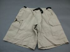 NAUTICA COMPETITION SIZE M MENS TAN COTTON NYLON BELTED CARGO SHORTS 761