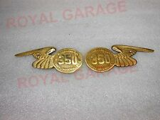 PAIR MADE LIKE GUN GOES LIKE BULLET350cc BRASS MADE TOOL BOX BADGES