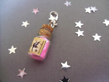 Clip On, Magical Fairy Dust Bottle Charm, pink Sparkle fairy dust