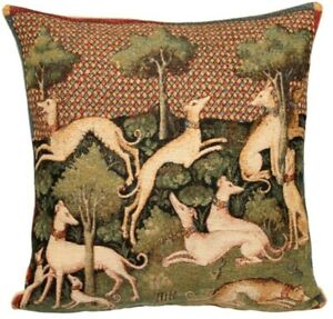 """""""LEVRIERS"""" GREYHOUNDS, BELGIAN TAPESTRY CUSHION COVER WITH ZIP, 18"""" X 18"""", 01544"""